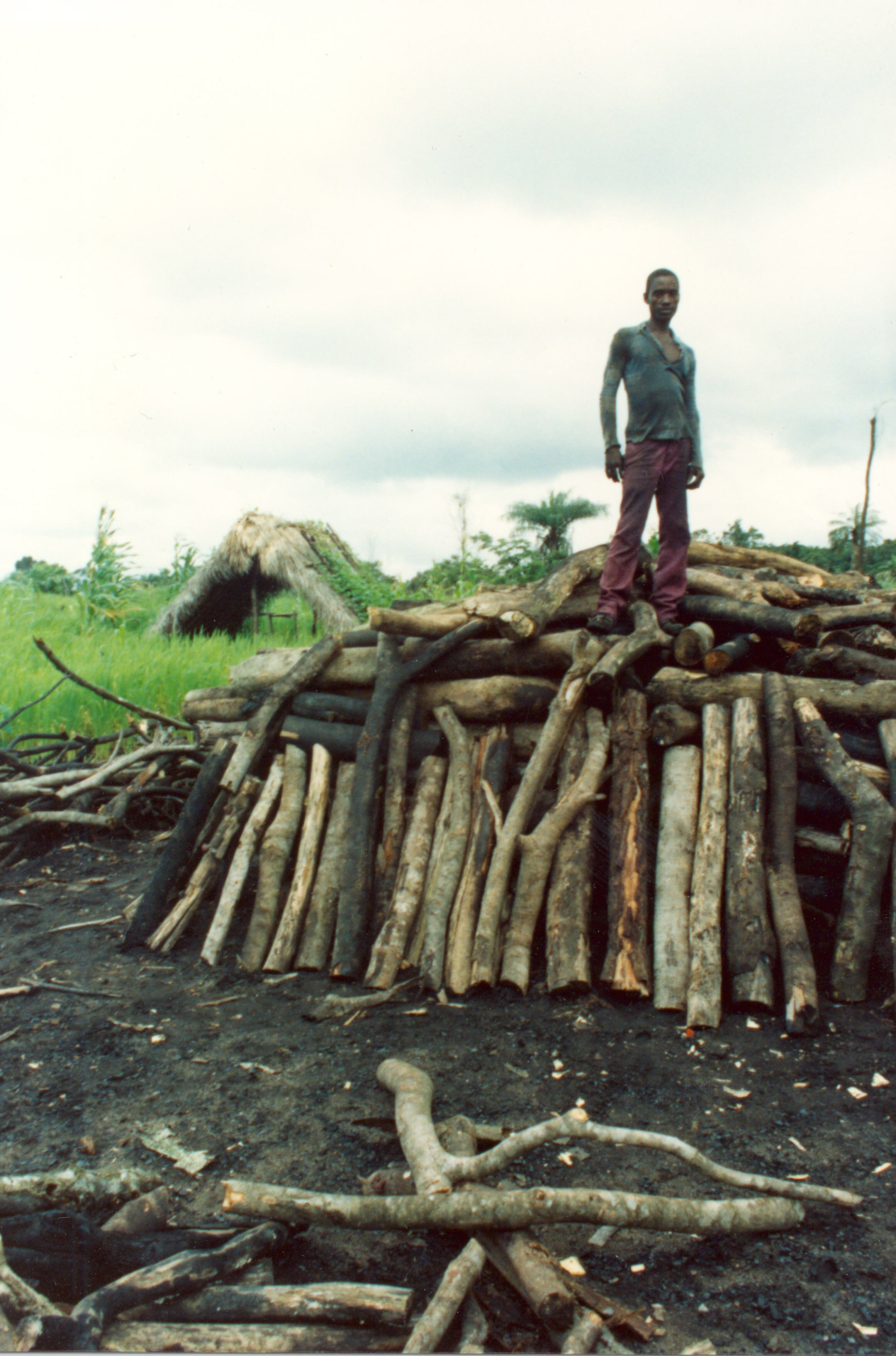 Charcoal making in Liberia